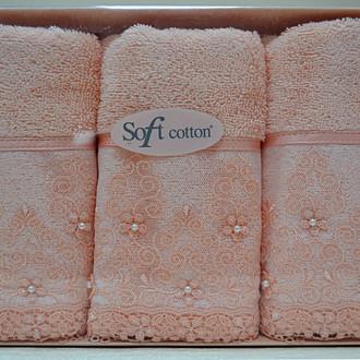 Набор полотенец для ванной в подарочной упаковке 32х50 3 шт. Soft Cotton SELEN хлопковая махра персиковый