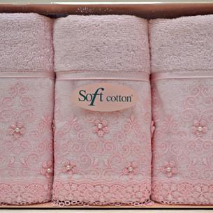 Набор полотенец для ванной в подарочной упаковке 32х50 3 шт. Soft Cotton SELEN хлопковая махра розовый
