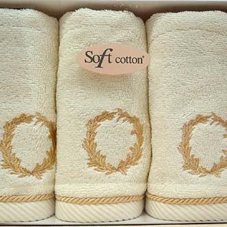Набор полотенец для ванной в подарочной упаковке 32х50 3 шт. Soft Cotton SEHZADE хлопковая махра кремовый