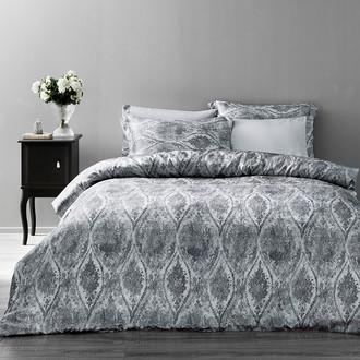 Комплект постельного белья Tivolyo Home DANTE сатин, жатый шёлк (серый)
