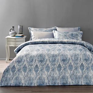 Постельное белье Tivolyo Home DANTE сатин, жатый шёлк голубой евро