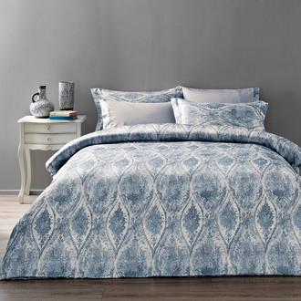 Комплект постельного белья Tivolyo Home DANTE сатин, жатый шёлк (голубой)