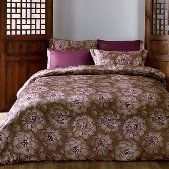 Комплект постельного белья Tivolyo Home DANTE сатин, жатый шёлк (бордовый)