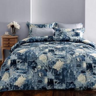 Комплект постельного белья Tivolyo Home ODETTE сатин, жатый шёлк (серый)