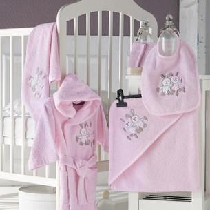 Набор для купания новорожденных Karna BABY CLUB хлопковая махра розовый 1-3 года