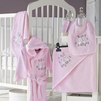Набор для купания новорожденных Karna BABY CLUB хлопковая махра розовый