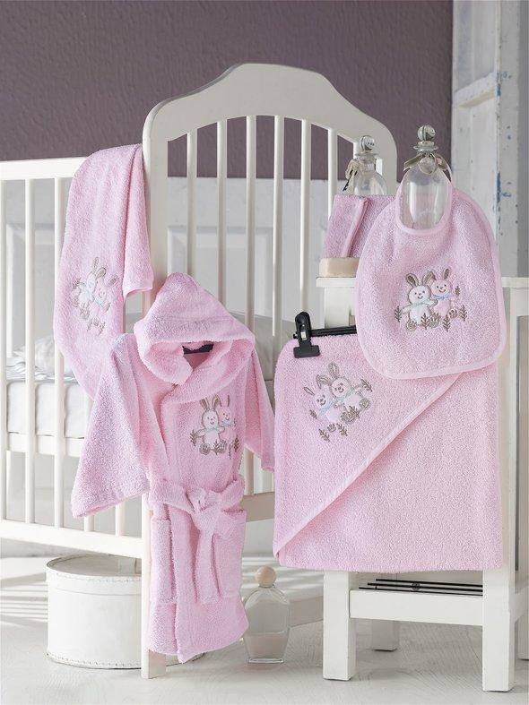 Набор для купания новорожденных Karna BABY CLUB хлопковая махра (розовый) 1-3 года, фото, фотография