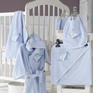 Набор для купания новорожденных Karna BABY CLUB хлопковая махра голубой 1-3 года