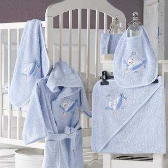 Набор для купания новорожденных Karna BABY CLUB хлопковая махра голубой