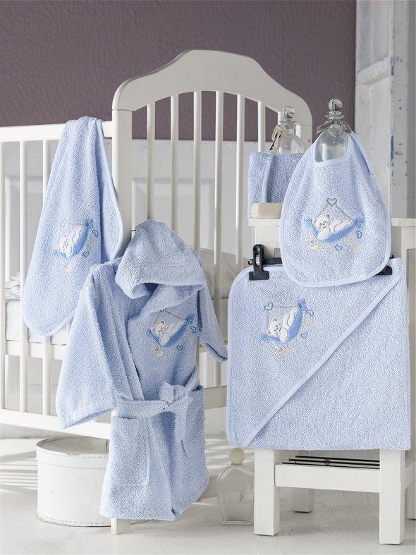 Набор для купания новорожденных Karna BABY CLUB хлопковая махра (голубой) 1-3 года, фото, фотография