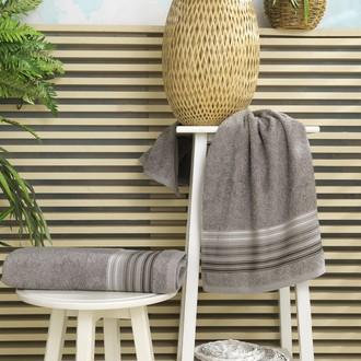 Полотенце для ванной Karna PAULA хлопковая махра (серый)