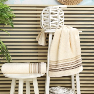 Полотенце для ванной Karna PAULA хлопковая махра (кремовый)