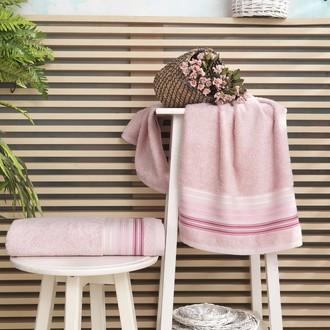 Полотенце для ванной Karna PAULA хлопковая махра (розовый)