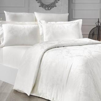 Комплект постельного белья Karna VALERI сатин-жаккард (кремовый)