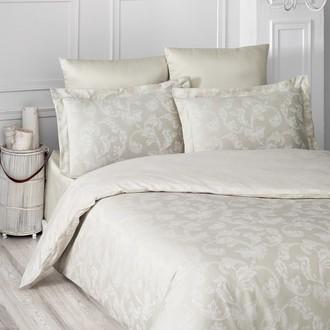 Комплект постельного белья Karna ARIEL сатин-жаккард (бежевый)