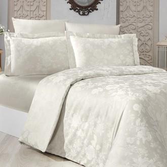 Комплект постельного белья Karna BELEN сатин-жаккард (кремовый)