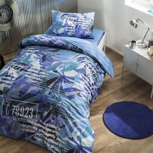 Комплект подросткового постельного белья TAC PAINT хлопковый ранфорс голубой 1,5 спальный