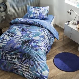 Комплект подросткового постельного белья TAC PAINT хлопковый ранфорс (голубой)