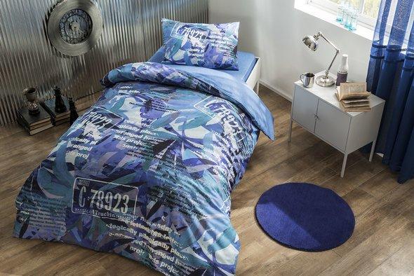 Комплект подросткового постельного белья TAC PAINT хлопковый ранфорс голубой 1,5 спальный, фото, фотография