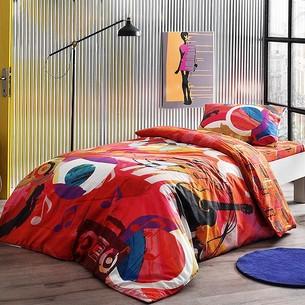 Комплект подросткового постельного белья TAC PLAYER хлопковый ранфорс красный 1,5 спальный