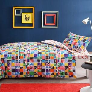 Комплект подросткового постельного белья TAC SQUARE хлопковый ранфорс оранжевый 1,5 спальный