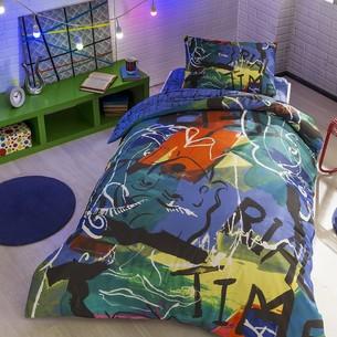 Комплект подросткового постельного белья TAC FACE хлопковый ранфорс пурпурный 1,5 спальный