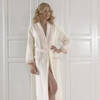 Халат женский Soft Cotton BUKET хлопковая махра кремовый