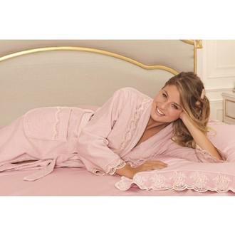 Халат женский Soft Cotton BUKET хлопковая махра тёмно-розовый