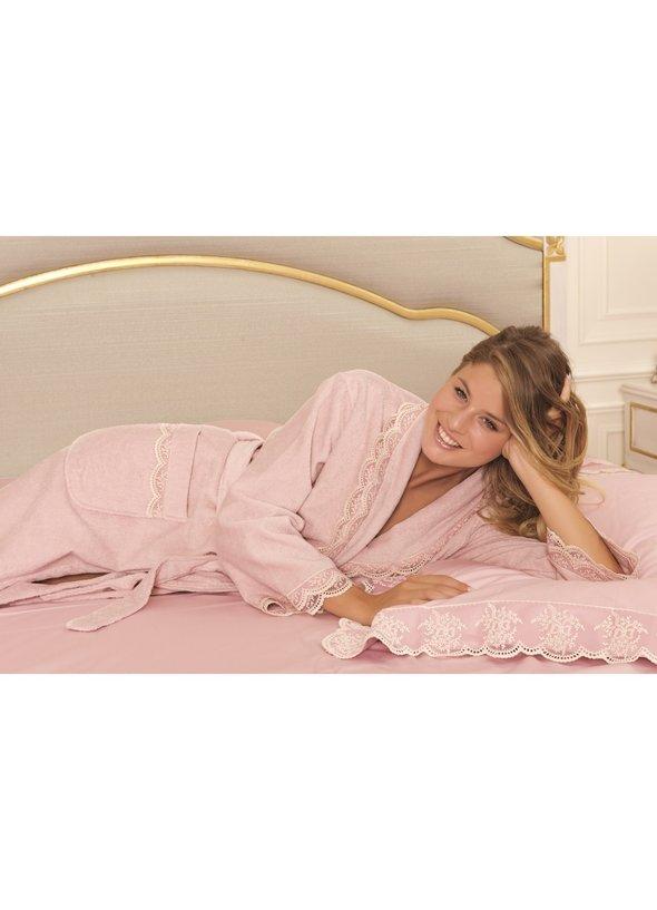 Халат женский Soft Cotton BUKET хлопковая махра тёмно-розовый L, фото, фотография