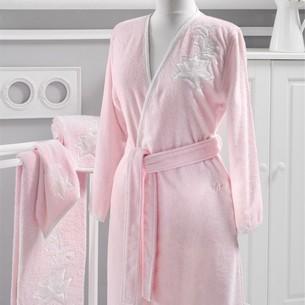 Халат женский Soft Cotton PANDORA KIMONO хлопковая махра розовый L