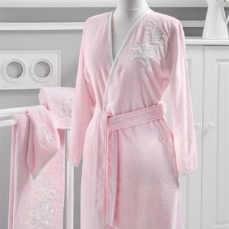 Халат женский Soft Cotton PANDORA KIMONO хлопковая махра розовый