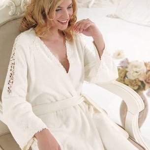 Халат женский Soft Cotton MASAL бамбуково-хлопковая махра белый M