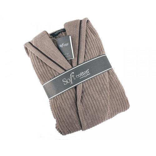 Халат мужской Soft Cotton STRIPE хлопковая махра коричневый XL, фото, фотография
