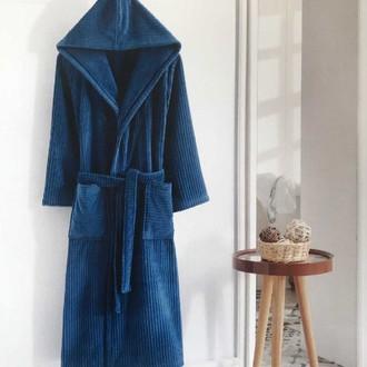 Халат мужской Soft Cotton STRIPE хлопковая махра синий