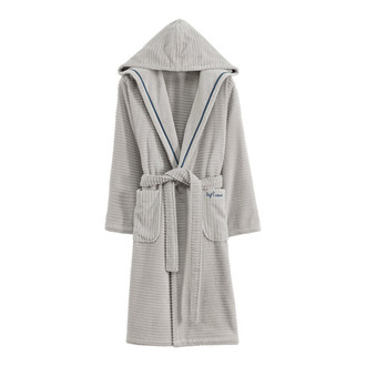 Халат женский Soft Cotton STRIPE хлопковая махра (серый)