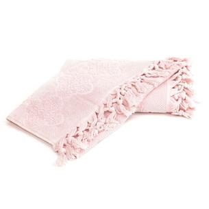 Полотенце для ванной Tivolyo Home NERVURES хлопковая махра розовый 50х90
