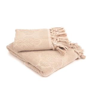 Полотенце для ванной Tivolyo Home NERVURES хлопковая махра бежевый 50х90