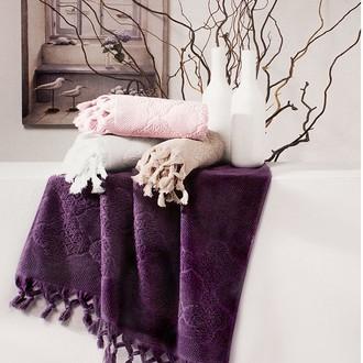 Полотенце для ванной Tivolyo Home NERVURES хлопковая махра (сиреневый)