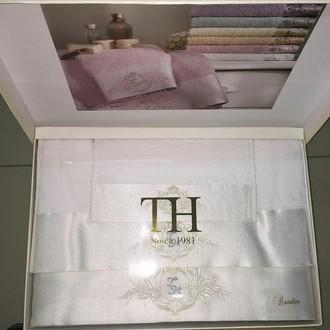 Подарочный набор полотенец для ванной 3 пр. Tivolyo Home CRYSTAL бамбуково-хлопковая махра (кремовый)