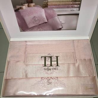 Подарочный набор полотенец для ванной 3 пр. Tivolyo Home CRYSTAL бамбуково-хлопковая махра (персиковый)