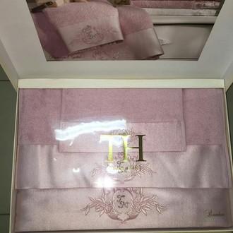 Подарочный набор полотенец для ванной 3 пр. Tivolyo Home CRYSTAL бамбуково-хлопковая махра (сиреневый)