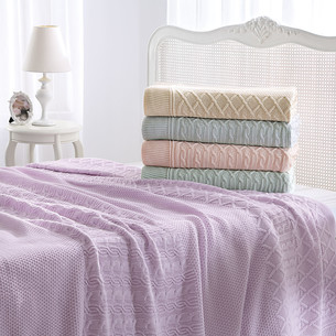 Вязаный плед-покрывало Tivolyo Home LUNA розовый 220х240