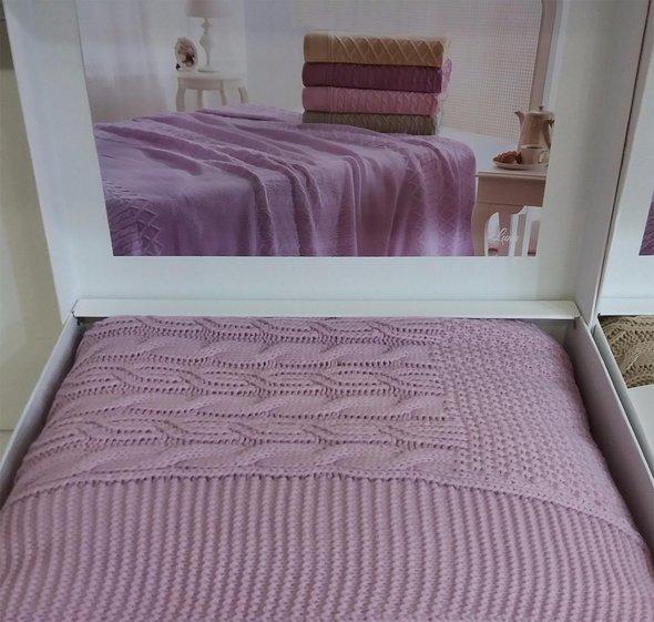 Вязаный плед-покрывало Tivolyo Home LUNA (лиловый) 180*240, фото, фотография