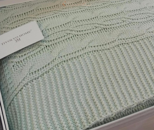 Вязаный плед-покрывало Tivolyo Home LUNA зелёный 180х240, фото, фотография