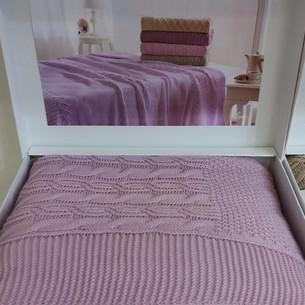 Вязаный плед-покрывало Tivolyo Home LUNA тёмно-лиловый 180х240