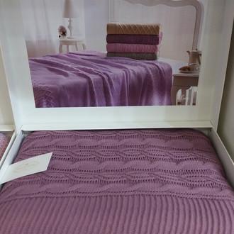 Вязаный плед-покрывало Tivolyo Home LUNA фиолетовый