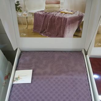 Махровая простынь-покрывало для укрывания Tivolyo Home ELIPS хлопок фиолетовый