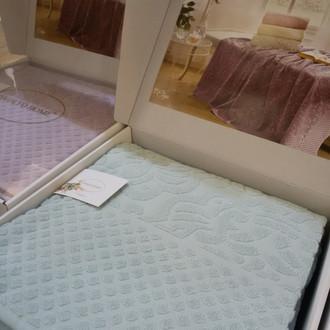 Махровая простынь-покрывало для укрывания Tivolyo Home ELIPS хлопок (бирюзовый)
