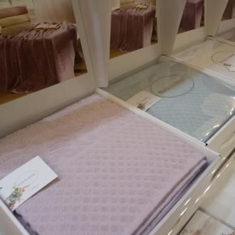 Махровая простынь-покрывало для укрывания Tivolyo Home ELIPS хлопок лиловый