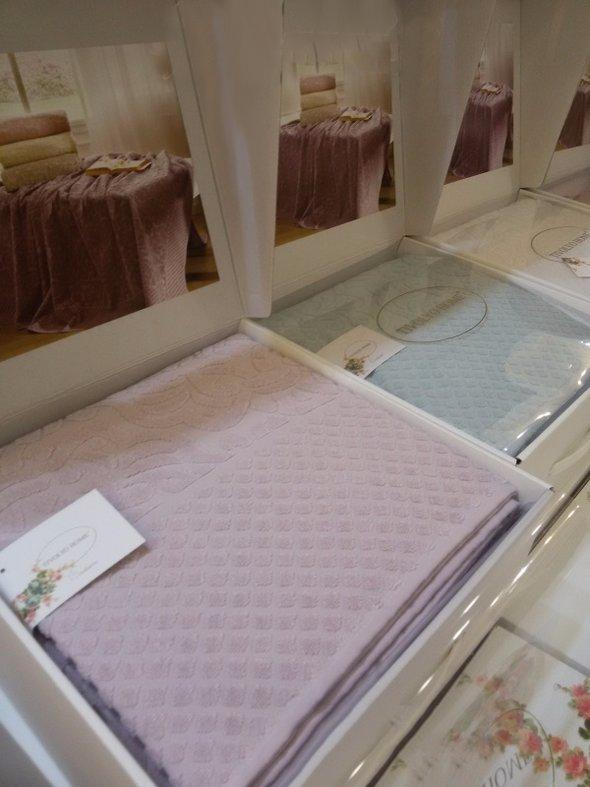 Махровая простынь-покрывало для укрывания Tivolyo Home ELIPS хлопок (лиловый) 160*220, фото, фотография